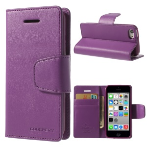 Purple Mercury Goospery Sonata Stand Leather Magnetic Case for iPhone 5c