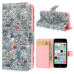Magnetic Blood Sweat Vector Poster Pattern Leather Wallet Stand Case for iPhone 5c
