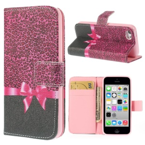 Magnetic Rose Leopard & Bowknot Leather Wallet Stand Cover for iPhone 5c