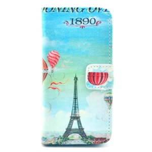 Eiffel Tower & Hydrogen Balloon Pattern for iPhone 5c Leather Wallet Stand Case