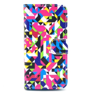 Colorful Seamless Geometric Pattern for iPhone 5c Leather Flip Wallet Cover