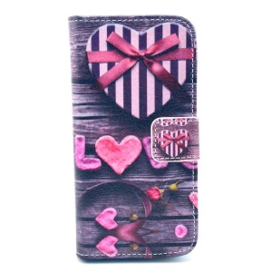 Love and Heart Box Pattern for iPhone 5c Leather Flip Stand Case w/ Card Slots