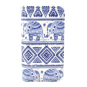 For iPhone 5c Tribal Style Elephant Pattern Leather Card Slot Case w/ Stand