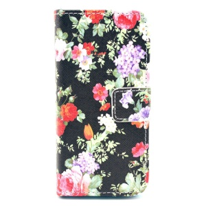 Girly Splendid Flowers Pattern for iPhone 5c Leather Flip Wallet Stand Cover