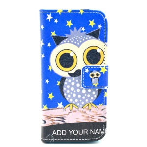 For iPhone 5c Owl with Mustache Pattern Leather Card Holder Case w/ Stand
