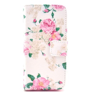 Elegant Pink Roses Pattern Flip Leather Wallet Case for iPhone 5c w/ Stand