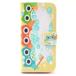 For iPhone 5c Cute Colored Owls Pattern Leather Card Slot Cover w/ Stand