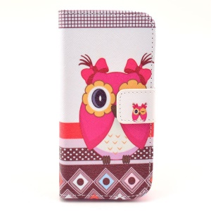 Cartoon Baby Owl Pattern Flip Leather Wallet Case for iPhone 5c w/ Stand
