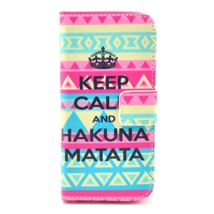 Tribe & Keep Calm and Hakuna Matata Pattern for iPhone 5c Leather Flip Cover