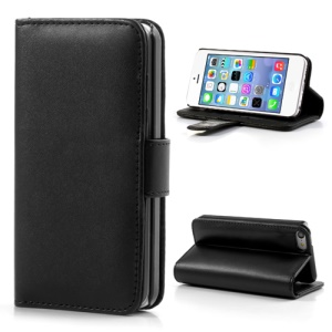 Black Glossy Leather Flip Wallet Magnetic Case Cover w/ Stand for iPhone 5C