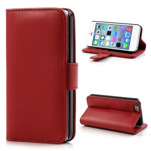 Red Glossy Leather Flip Wallet Magnetic Case Cover w/ Stand for iPhone 5C