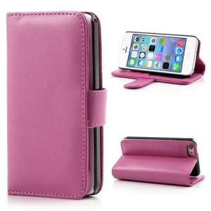 Rose Glossy Leather Flip Wallet Magnetic Case Cover w/ Stand for iPhone 5C