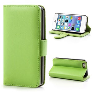 Green Glossy Leather Flip Wallet Magnetic Case Cover w/ Stand for iPhone 5C