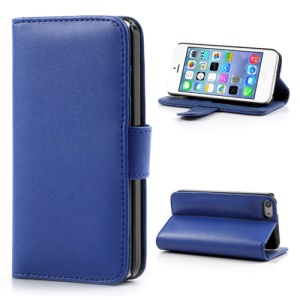 Dark Blue Glossy Leather Flip Wallet Magnetic Case Cover w/ Stand for iPhone 5C