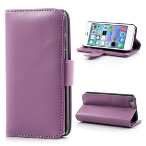 Purple Glossy Leather Flip Wallet Magnetic Case Cover w/ Stand for iPhone 5C