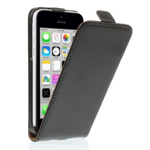 Genuine Split Leather Vertical Flip Case for iPhone 5c - Black