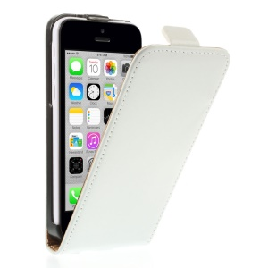 Genuine Split Leather Vertical Flip Cover for iPhone 5c - White