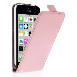 Genuine Split Leather Vertical Flip Shell Cover for iPhone 5c - Pink