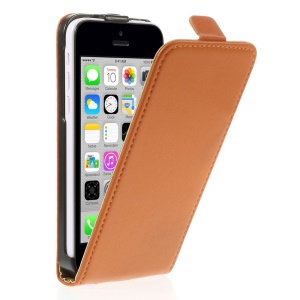 Genuine Split Leather Vertical Flip Case Cover for iPhone 5c - Orange