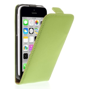 Genuine Split Leather Vertical Flip Magnetic Case for iPhone 5c - Green