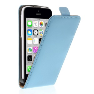Genuine Split Leather Vertical Flip Magnetic Cover for iPhone 5c - Blue