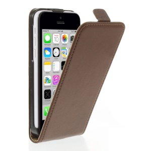 Genuine Split Leather Vertical Flip Magnetic Shell for iPhone 5c - Brown