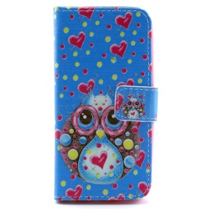 Owl & Heart  Pattern Magnetic Wallet Leather Case w/ Stand for iPhone 5c