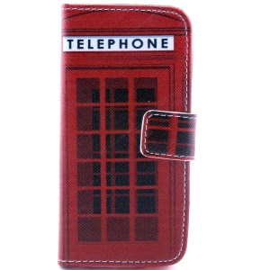 Telephone Booth Pattern Magnetic Wallet Leather Cover  w/ Stand for iPhone 5c