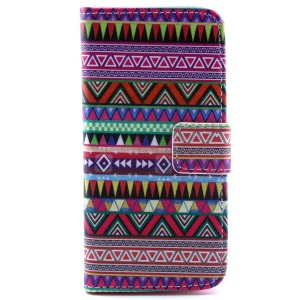 Colorized Tribal Magnetic Stand PU Leather Wallet Case for iPhone 5c