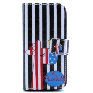 Giraffe & Stripes Magnetic Stand PU Leather Wallet Case for iPhone 5c