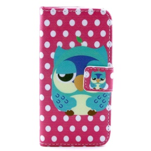 Owl & Dots Pattern PU Leather Wallet Case Shell  w/ Stand for iPhone 5c
