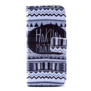 Tribal Quote HAKUNA MATATA Pattern PU Leather Wallet Case Shell  w/ Stand for iPhone 5c