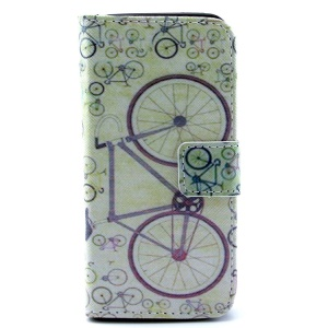 Bicycles Pattern PU Leather Wallet Cover Shell  w/ Stand for iPhone 5c
