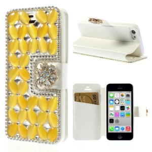Shiny Rhinestone Coated Leather Flip Cover Shell for iPhone 5c - Yellow