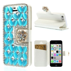 Shiny Rhinestone Coated Leather Stand Protective Shell for iPhone 5c - Blue