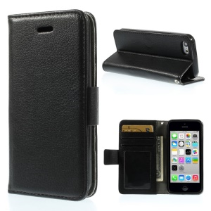 Litchi Texture Leather Stand Wallet Shell for iPhone 5c - Black