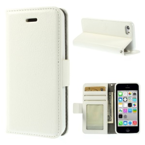 Litchi Texture Leather Stand Wallet Case Shell for iPhone 5c - White