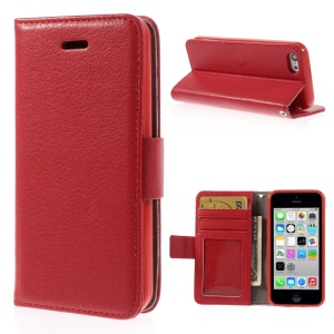 Litchi Texture PU Leather Stand Wallet Case for iPhone 5c - Red