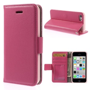 Litchi Texture PU Leather Stand Wallet Cover for iPhone 5c - Rose