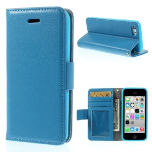 Litchi Texture PU Leather Stand Wallet Cover Shell for iPhone 5c - Blue