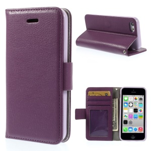 Litchi Texture PU Leather Stand Wallet Shell for iPhone 5c - Light Purple