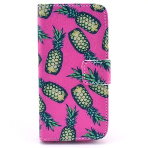 Green Pineapples Rose Background Wallet Leather Stand Case for iPhone 5c