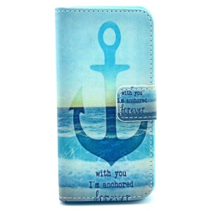 Quote & Anchor & Sea Protective Wallet Stand Leather Case for iPhone 5c