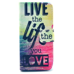 Live the Life You Love Protective Stand Leather Wallet Cover for iPhone 5c