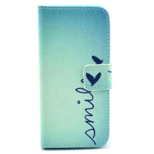 Smile & Heart Protective Stand Wallet Leather Skin Case for iPhone 5c