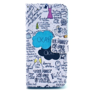 Graffiti Characters Magnetic PU Leather Stand Cover Wallet for iPhone 5c