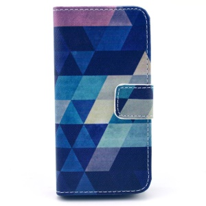 Colorful Triangles Wallet Leather Shell with Stand for iPhone 5c