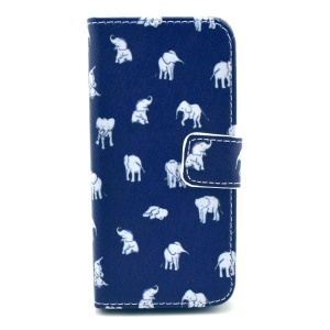 Cartoon Elephants Wallet Leather Phone Cover w/ Stand for iPhone 5c