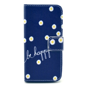 For iPhone 5c Quote Be Happy & Flowers Wallet Stand PU Leather Shell Case