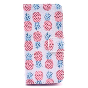 For iPhone 5c Red Pineapples White Background Folio Stand Leather Wallet Case